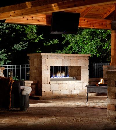 Concrete Block Fireplace