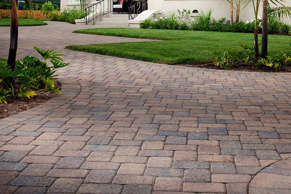 Paver And Grass Driveway