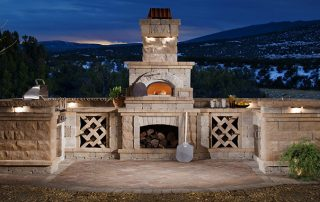 Brick Ovens With Concrete Block and Paver Stones