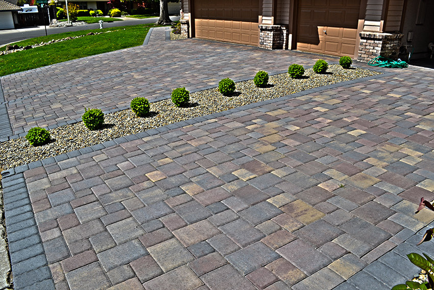 Variety Of Paver Stones El Dorado Hills Paver Stone Driveway - Double Driveway With Seperation