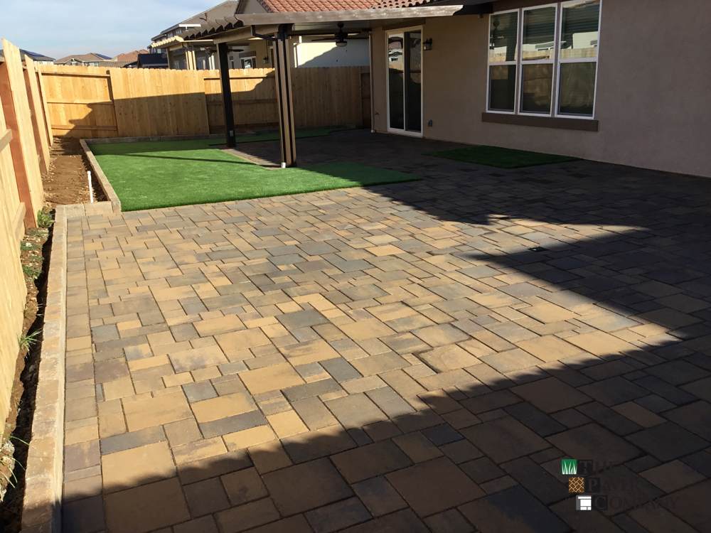 Paver Stone Walkway, Patio & Synthetic Turf For Roseville Home